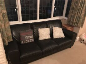 2 x 3 seater dark brown leather sofas for sale