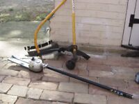 Ryobi straight and bent shafts plus pruner/chainsaw + spare chain