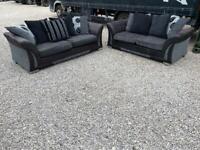 Dfs Black & Grey 3&2 Seater Sofas