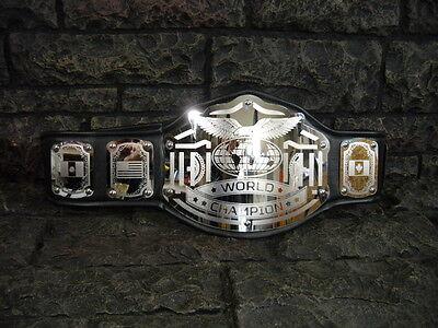 NEW World Championship Belt Emperor Model Black Adult Metal Plates wwe wwf wcw