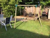 Plum, Wooden Garden Double Swing Set