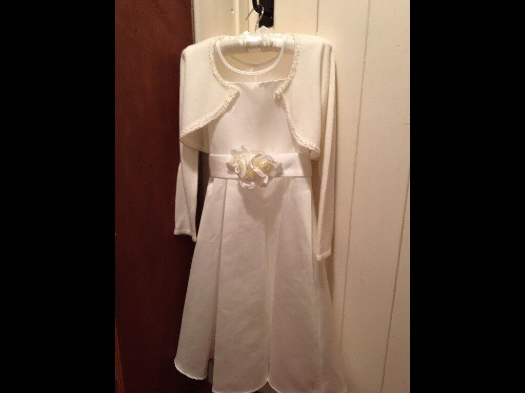 2x John Lewis ivory Flower girl dresses & matching boleros (aged 7/8 and 5/6) and shoes (size 12 &2)