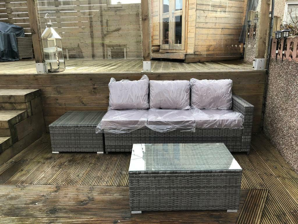 Rattan outdoor garden furniture 3 seater sofa and tables in grey