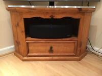 Corner Solid Pine TV Stand storage unit