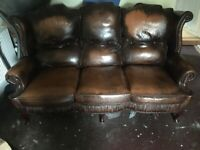 LEATHER QUEEN ANNE SOFA