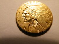 American Gold Coins. 1912 $2.5 Indian head Gold Coin