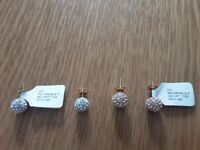 2 brand new pairs 9ct gold glitter ball earrings