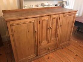 Very Large Solid Polished Pine Kitchen Cupboard