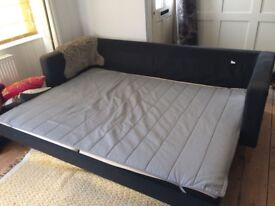 SECOND HAND IKEA KARLSTAD 3 SEATER SOFA BED DARK GREY