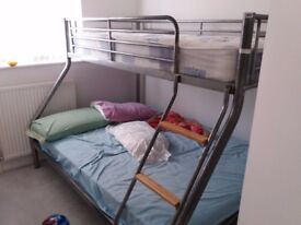Metal Bunk Bed. Double and Single-very good. Selling it for £80.00