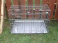 DOG CAGE LARGE WITH METAL TRAY SLOPS TO FIT IN CAR £35 AS NEW