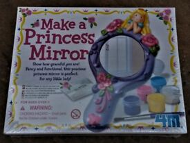 4M Make a princess mirror, kids craft kit, plaster and paint, 5+, unopened box