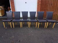 6 Brown Faux Leather Chairs Oak Legs FREE DELIVERY 667