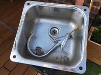 Kitchen sink - onset, with waste and strainer and fixings.