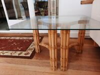 70s BAMBOO GLASS TABLES. RETRO