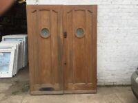 SOLID OAK EXTERNAL DOUBLE FRONT DOORS OPEN IN FROM OUT SIDE £400 for sale  Aston Clinton, Buckinghamshire