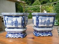 Pair of Chinese Blue and White porcelaine jardinieres with stands
