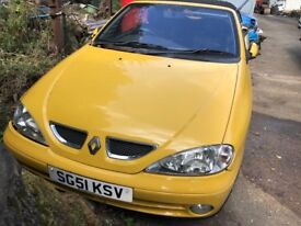 2001 Renault Megane Privilege+ Ide Cbr Convert 2.0 Petrol Yellow BREAKING FOR SPARES