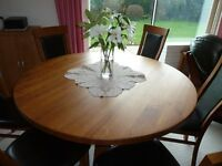 Circular Dining Table Solid Oak With 6 Chairs