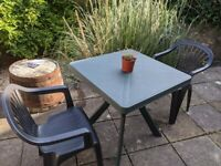 Nile Green Square Garden Table 80 x 80 cm and two chairs