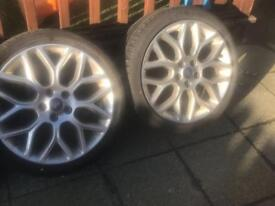 2 x 18 inch focus s alloy wheels with tyres