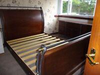 King size wooden sleigh bed/matching bedoom unit & mirror/wooden wardrobe