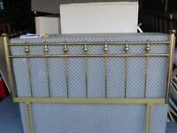 One brass double headboard and one velour type material 4' headboard
