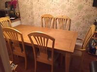 Used Solid Wood Dining Table and 6 Chairs