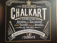 Chalkboard Artist & Illustratior, from an A board to a wall mural.