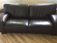 Excellent Condition Dark Brown Leather Sofa for Sale!