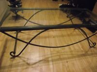 RETRO GLASS TOPPED, STEEL SCULPTURED DESIGNER COFFEE TABLE 1.4 MTR LONG. 66CM WIDE.