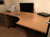 Large solid office table with filing cabinet