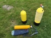 3 diving tanks 12lt 10lt 3lt pony all will require testing