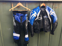 Motorcycle leathers, 2 piece, Full suit, Blue uk size 30. Great condition.
