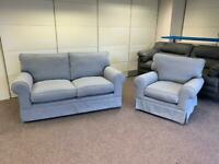 Ex Display John Lewis Padstow 2 Seater Sofa & Armchair In Pale Blue/Grey Fabric