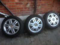 used alloy wheels with fair to good tyres x 5