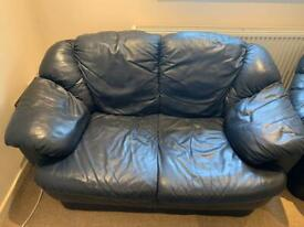 Black leather sofa 3 seater