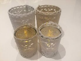Set of 31 cotton lace candle holders