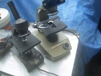 2 Vintage Microscopes ideal for props/spares or repair etc