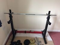Squat and Dip Rack including 2 x dumbbells 1 x bar bell and 57kg of metal weights