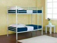 🔵💖🔴SAME DAY DELIVERY🔵💖🔴BRAND NEW SINGLE WHITE METAL BUNK BED WITH MATTRESS OPTION AVAILABLE