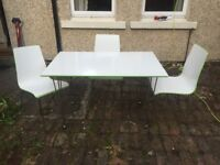 High gloss white and lime green dining /kitchen table and 4 chairs