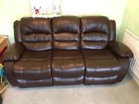 Leatherette three seater reclining sofa and chair (recliner)