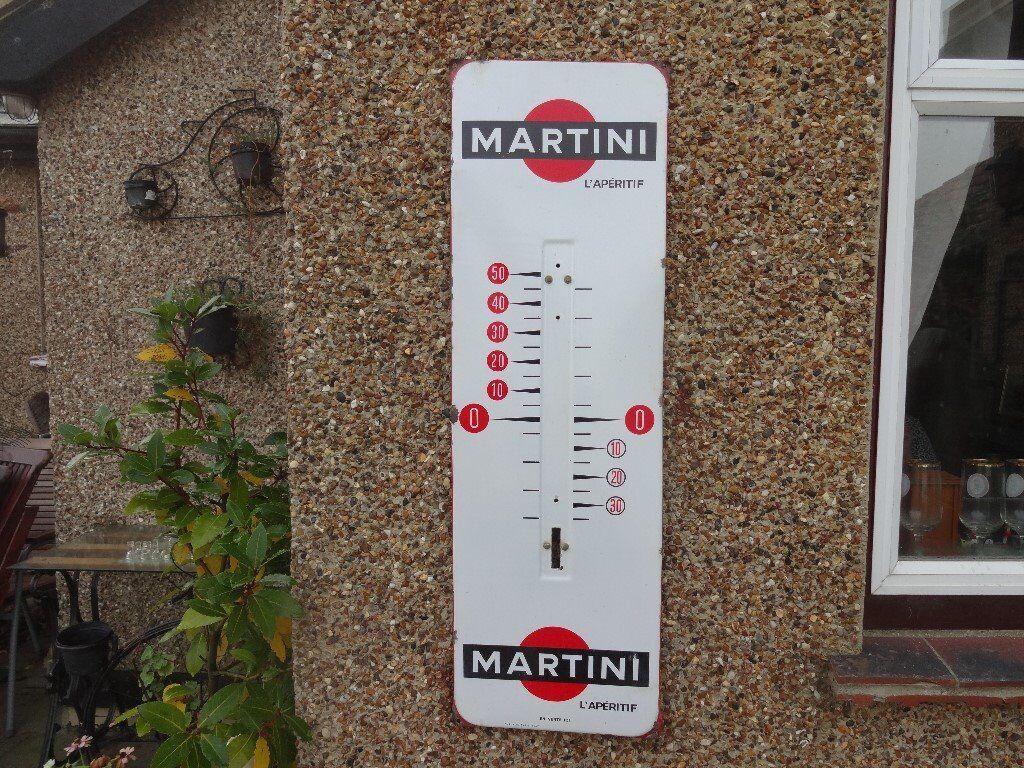 "VINTAGE ENAMEL ADVERTISING SIGN ~ ""MARTINI L'APERITIF"""