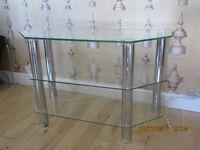 QUALITY GLASS & CHROME TV CABINET UNIT