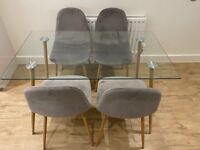 Glass Dining Table With 4x Chairs