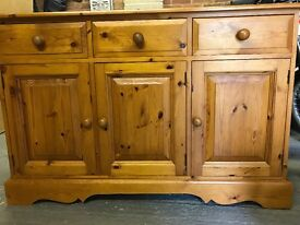 3 Draw 4 Cupboard Pine Dresser - Good Condition - 5 Years old