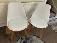 2x Dining Chairs John Lewis Mid-Century Oak Wood Legs Plastic Seat RRP £100 Each