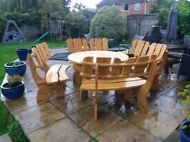 Bespoke solid oak patio set garden furniture outdoor furniture