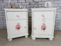 Beautiful shabby vintage rose, matching 3 drawer bedside chests